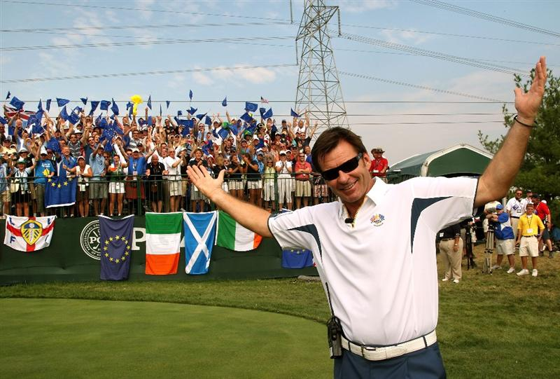 LOUISVILLE, KY - SEPTEMBER 21:  European team captain Nick Faldo waits on the first tee during the singles matches on the final day of the 2008 Ryder Cup at Valhalla Golf Club on September 21, 2008 in Louisville, Kentucky.  (Photo by David Cannon/Getty Images)