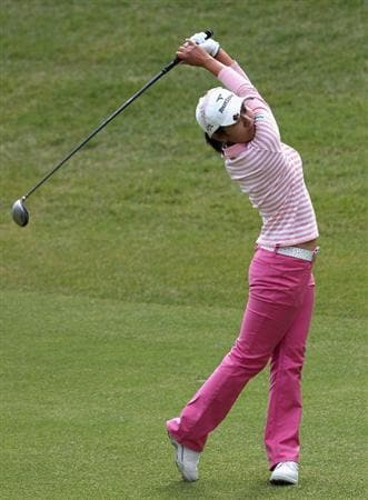 SHIMA, JAPAN - NOVEMBER 07:  Ai Miyazato of Japan hits her second shot on the 8th hole during the first round of 2008 Mizuno Classic at Kintetsu Kashikojima Country Club on November 7, 2008 in Shima, Mie, Japan.  (Photo by Koichi Kamoshida/Getty Images)