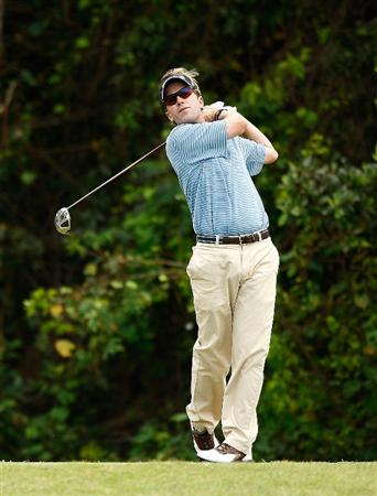 RIO GRANDE, PR - MARCH 15:  Brett Quigley hits a tee shot on the 7th hole during the final round of the 2009 Puerto Rico Open presented by Banco Popular at the Trump International Golf Club on March 15, 2009 in Rio Grande, Puerto Rico.  (Photo by Mike Ehrmann/Getty Images)