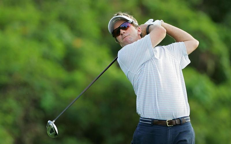 RIO GRANDE, PR - MARCH 12:  Brett Quigley hits a drive during the continuation of the first round of the Puerto Rico Open presented by Banco Popular at Trump International Golf Club held on March 12, 2010 in Rio Grande, Puerto Rico.  (Photo by Michael Cohen/Getty Images)