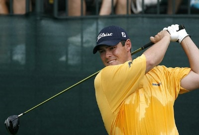 Johnson Wagner tees off the first hole during the final round of the 2007 Shell Houston Open Sunday, April 1, 2007, on the Tournament Course at the Redstone Golf Club in Humble, Texas. PGA Tour - 2007 Shell Houston Open - Final RoundPhoto by Kevin C.  Cox/WireImage.com
