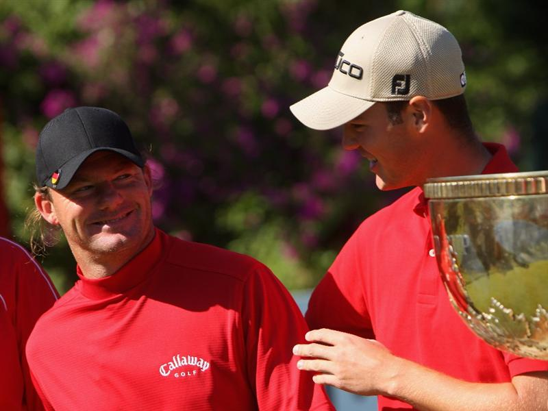 SHENZHEN, CHINA - NOVEMBER 29:  Alex Cejka and Martin Kaymer of Germany during the third round of the Omega Mission Hills world cup on November 29, 2008 in Shenzhen, China.  (Photo by Stuart Franklin/Getty Images)