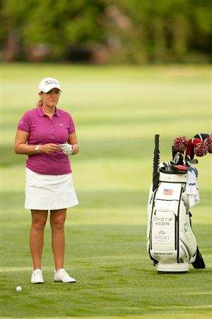 SPRINGFIELD, IL - JUNE 13: Cristie Kerr stands with her golf bag during continuation of the third round of the LPGA State Farm Classic at Panther Creek Country Club on June 13, 2010 in Springfield, Illinois. (Photo by Darren Carroll/Getty Images)
