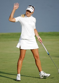 KAPOLEI, HI - FEBRUARY 22:  Natalie Gulbis waves to the crowd after finishing her second round of the Fields Open on February 22, 2008  at the Ko Olina Golf Club in Kapolei, Hawaii.  (Photo by Andy Lyons/Getty Images)