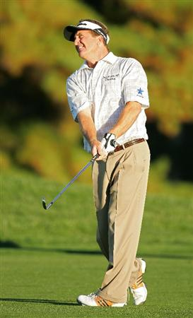 TIMONIUM, MD - OCTOBER 11:  Fred Funk watches his second shot on the 16th hole during the third round of the Constellation Energy Senior Players Championship at Baltimore Country Club East Course held on October 11, 2008 in Timonium, Maryland  (Photo by Michael Cohen/Getty Images)
