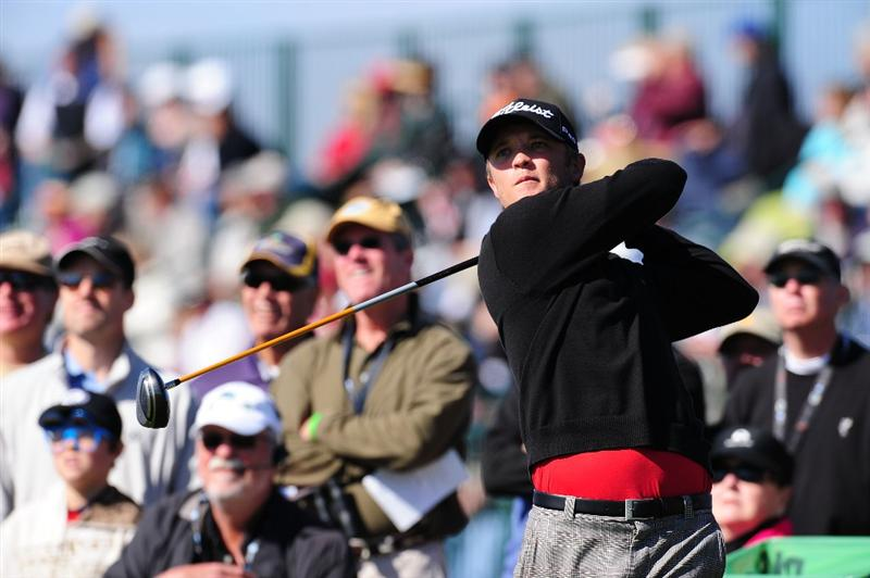PEBBLE BEACH, CA - FEBRUARY 14:  Matt Jones tees off on the 17th hole during the final round of the AT&T Pebble Beach National Pro-Am at Pebble Beach Golf Links on February 14, 2010 in Pebble Beach, California.  (Photo by Stuart Franklin/Getty Images)