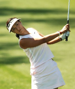 Grace Park hits her approach shot on the 9th fairway during the third round of the LPGA's 2005 Kraft Nabisco Championship, at Mission Hills Country Club in Rancho Mirage, California March 26, 2005.