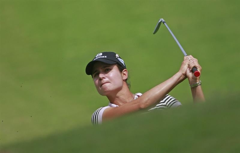 PRATTVILLE, AL - OCTOBER 2:  Lorena Ochoa of Mexico hits to the ninth hole during second round play in the Navistar LPGA Classic at the Robert Trent Jones Golf Trail at Capitol Hill on October 2, 2009 in  Prattville, Alabama.  (Photo by Dave Martin/Getty Images)