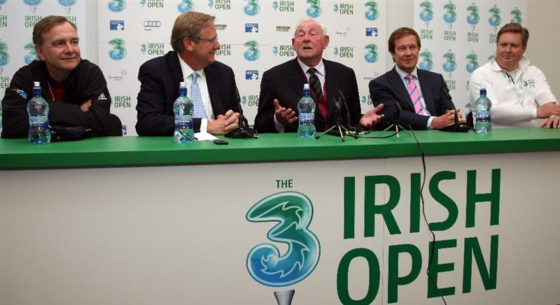 BALTRAY, IRELAND - MAY 13:  Martin Cullen TD, Jack Peter, Sr. Vice President and Chief Operating Officer of the Golf Hall of Fame, Christy O'Connor, George O'Grady, Chief Executive of The European Tour and Rob Finnigan of the 3 Irish Open at the press conference to announce the induction of Christy O'Connor in to the 'Golf Hall of Fame' during the Pro-Am prior to the start of The 3 Irish Open at County Louth Golf Club on May 13, 2009 in Baltray, Ireland.  (Photo by Ross Kinnaird/Getty Images)