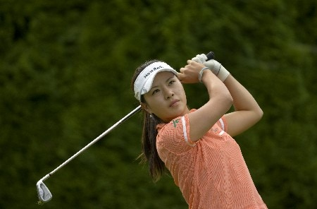 PORTLAND OR - AUGUST 23: Hee Young Park of South Korea hits her tee shot at the eighth hole during the second round of the LPGA Safeway Classic at the Columbia Edgewater Country Club on August 23, 2008 in Portland, Oregon. (Photo by Steven Gibbons/Getty Images)