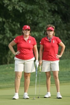 Meg Mallon (L) and Rosie Jones of the United States during the Saturday afternoon four-ball matches at the Solheim Cup at Crooked Stick Golf Club in Carmel, Indiana on September 10,2005.Photo by Michael Cohen/WireImage.com