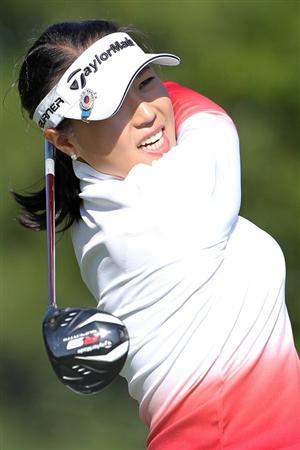 SHIMA, JAPAN - NOVEMBER 05:  Song Bo-bae of South Korea plays a tee shot on the 13th hole during round one of the Mizuno Classic at Kintetsu Kashikojima Country Club on November 5, 2010 in Shima, Mie, Japan.  (Photo by Kiyoshi Ota/Getty Images)
