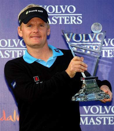 SOTOGRANDE, SPAIN - NOVEMBER 02:  Soren Kjeldsen of Denmark poses with the trophy after winning the Volvo Masters at Valderrama Golf Club on November 2, 2008 in Sotogrande, Spain.  (Photo by Andrew Redington/Getty Images)