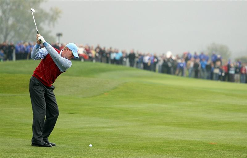 NEWPORT, WALES - SEPTEMBER 28:  Steve Stricker of the USA hits an approach shot during a practice round prior to the 2010 Ryder Cup at the Celtic Manor Resort on September 28, 2010 in Newport, Wales.  (Photo by Andy Lyons/Getty Images)