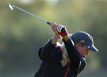 HALMSTAD, SWEDEN - SEPTEMBER 13:  Brittany Lincicome of the USA hits a shot on the practice ground during practice prior to the start of the Solheim Cup at Halmstad Golf Club on September 13, 2007 in Halmstad, Sweden.  (Photo by Andy Lyons/Getty Images)