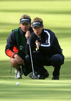 PACIFIC PALISADES, CA - FEBRUARY 14:  Luke Donald of England and his brother and caddie Christian line up a putt on the 11th hole during the first round of the Northern Trust Open on February 14, 2008 at Riviera Country Club in Pacific Palisades. California.  (Photo by Stephen Dunn/Getty Images)