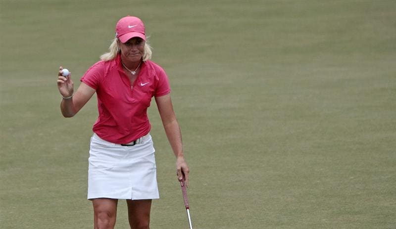 MOBILE, AL - MAY 15:  Suzann Pettersen of Norway waves after making a birdie on the 15th hole during third round play in the Bell Micro LPGA Classic at the Magnolia Grove Golf Course on May 15, 2010 in Mobile, Alabama.  (Photo by Dave Martin/Getty Images)