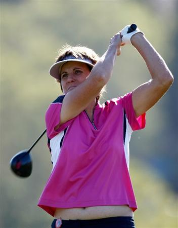 DANVILLE, CA - SEPTEMBER 24:  Michele Redman tees off on the 13th hole during the first round of the CVS/pharmacy LPGA Challenge at Blackhawk Country Club on September 24, 2009 in Danville, California.  (Photo by Jonathan Ferrey/Getty Images)