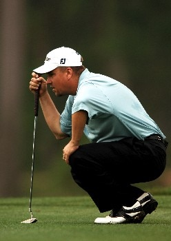 Craig Barlow lines up a putt on the first green during the second round of the 2005 Shell Houston Open, at the Redstone Golf Club in Houston, Texas April 22, 2005.Photo by Steve Grayson/WireImage.com