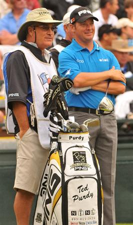 SAN ANTONIO TX - MAY 16: Ted Purdy on the first tee during the third round of  the Valero Texas Open held at La Cantera Golf Club on May 16, 2009 in San Antonio, Texas.  (Photo by Marc Feldman/Getty Images)