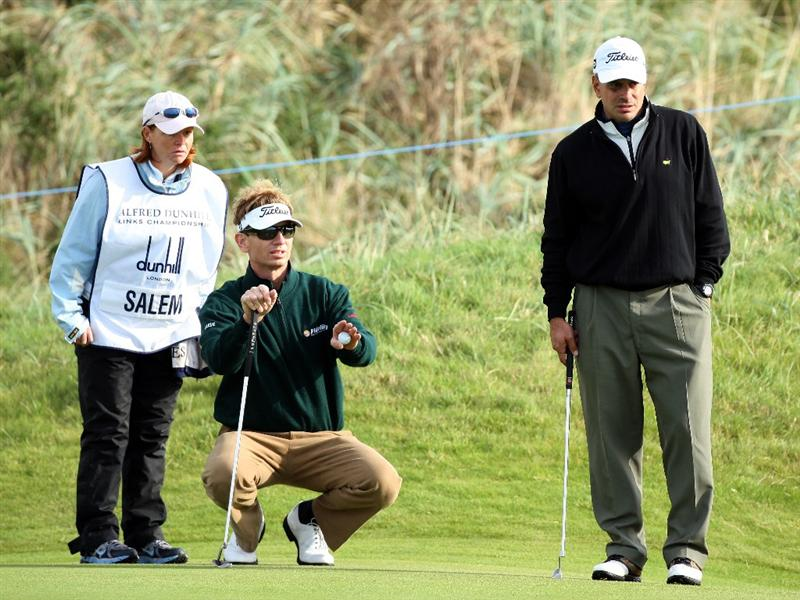CARNOUSTIE, SCOTLAND - OCTOBER 01:  Brad Faxon of the USA watches with his playing partner Paul Salem on the 15th green during the first round of The Alfred Dunhill Links Championship at Carnoustie Golf Club on October 1, 2009 in Carnoustie, Scotland. (Photo by David Cannon/Getty Images  (Photo by David Cannon/Getty Images)