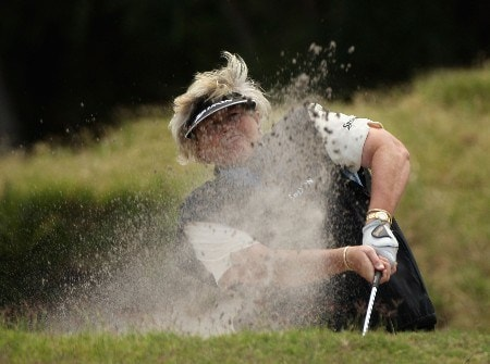 MELBOURNE, AUSTRALIA - FEBRUARY 01:  Laura Davies of England blasts out of a bunker on the fifth hole during round two of the Women's Australian Golf Open 2008 at Kingston Heath Golf Club on February 1, 2008 in Melbourne, Australia.  (Photo by Mark Dadswell/Getty Images)