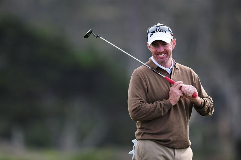 PEBBLE BEACH, CA - FEBRUARY 11:  Rod Pampling of Australia  plays a shot on the 16th hole during round one of the AT&T Pebble Beach National Pro-Am at Monterey Peninsula Country Club Shore Course on February 11, 2010 in Pebble Beach, California.  (Photo by Stuart Franklin/Getty Images)