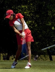 Julieta Granada tees off during the final round of the LPGA Florida's Natural Charity Championship on Sunday, April 23, 2006, at Eagle's Landing Country Club in Stockbridge, Georgia.Photo by Grant Halverson/WireImage.com