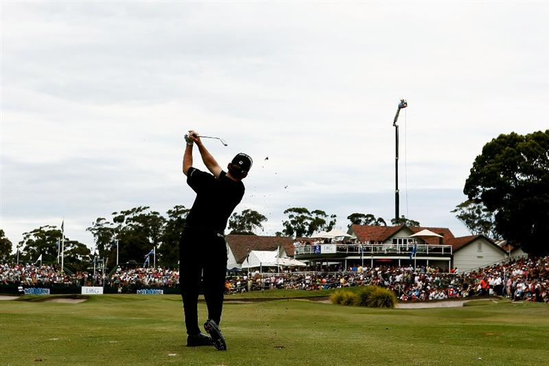 MELBOURNE, AUSTRALIA - NOVEMBER 30:  Rod Pampling of Australia plays his approach shot on the eighteenth hole during the fourth round of the 2008 Australian Masters at Huntingdale Golf Club on November 30, 2008 in Melbourne, Australia  (Photo by Quinn Rooney/Getty Images)