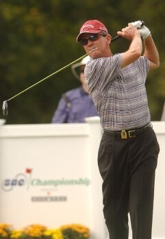 Mark McNulty hits from the 14th tee during the final round of the Champion's TOUR 2005 SBC Championship at Oak Hill Country Club in San Antonio, Texas October 23, 2005.Photo by Steve Grayson/WireImage.com
