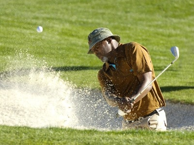 Actor Samuel L. Jackson blasts his way onto the green during the fourth round of the Bob Hope Classic at Palm Springs, California, Jan. 21, 2066.Photo by Marc Feldman/WireImage.com