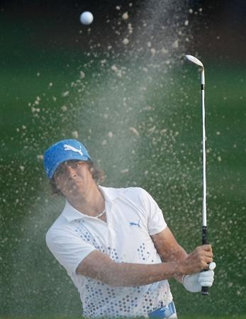 HILTON HEAD ISLAND, SC - APRIL 15:  Rickie Fowler plays a bunker shot on the second hole during the first round of the Verizon Heritage at the Harbour Town Golf Links on April 15, 2010 in Hilton Head lsland, South Carolina.  (Photo by Scott Halleran/Getty Images)