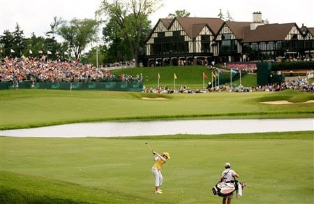 EDINA, MN - JUNE 28:  Paula Creamer hits her second shot on the 18th hole during the third round of the 2008 U.S. Women's Open at Interlachen Country Club on June 28, 2008 in Edina, Minnesota.  (Photo by Travis Lindquist/Getty Images)