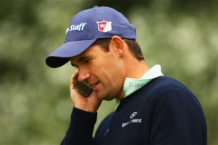 SOUTHPORT, UNITED KINGDOM - JULY 15:  Padraig Harrington of Ireland chats on a mobile phone during the second practice round of the 137th Open Championship on July 15, 2008 at Royal Birkdale Golf Club, Southport, England.  (Photo by Richard Heathcote/Getty Images)