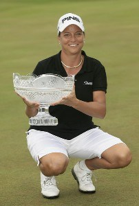 USA's Sherri Steinhauer holds the championship trophy after winning the 2006 Weetabix Women's British Open at the Royal Lytham and St. Annes Golf Club in Lytham, Great Britain on August 6, 2006.Photo by Pete Fontaine/WireImage.com
