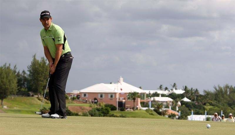 TUCKER'S TOWN, BERMUDA - OCTOBER 14:  Padraig Harrington of Ireland putting on the first green during the first round of the PGA Grand Slam of Golf at the Mid Ocean Club on October 14, 2008 in Tucker's Town, Bermuda.  (Photo by Ross Kinnaird/Getty Images)