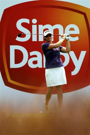 KUALA LUMPUR, MALAYSIA - OCTOBER 23: Maria Hjorth of Sweden tees off from the 8th hole during Round Two of the Sime Darby LPGA tournament at Kuala Lumpur Golf & Country Club on October 23, 2010 in Kuala Lumpur, Malaysia. (Photo by Stanley Chou/Getty Images)