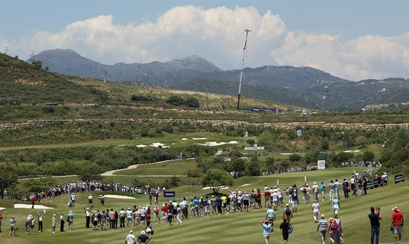 CASARES, SPAIN - MAY 22:  Luke Donald of England hits his second shot on the first hole during the final of the Volvo World Match Play Championship at Finca Cortesin on May 22, 2011 in Casares, Spain.  (Photo by Andrew Redington/Getty Images)