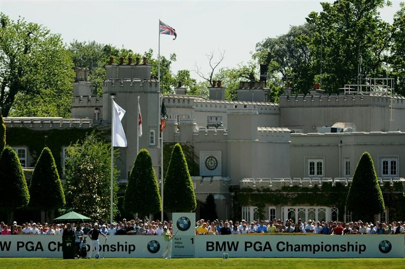 VIRGINIA WATER, ENGLAND - MAY 22:  Rory McIlroy of Northern Ireland tees off on the 1st hole during the third round of the BMW PGA Championship on the West Course at Wentworth on May 22, 2010 in Virginia Water, England.  (Photo by Richard Heathcote/Getty Images)