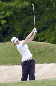 Helen Alfredsson hits out of a fairway bunker during the third round of the LPGA Florida's Natural Charity Championship on Saturday, April 22, 2006, at Eagle's Landing Country Club in Stockbridge, Georgia.Photo by Grant Halverson/WireImage.com