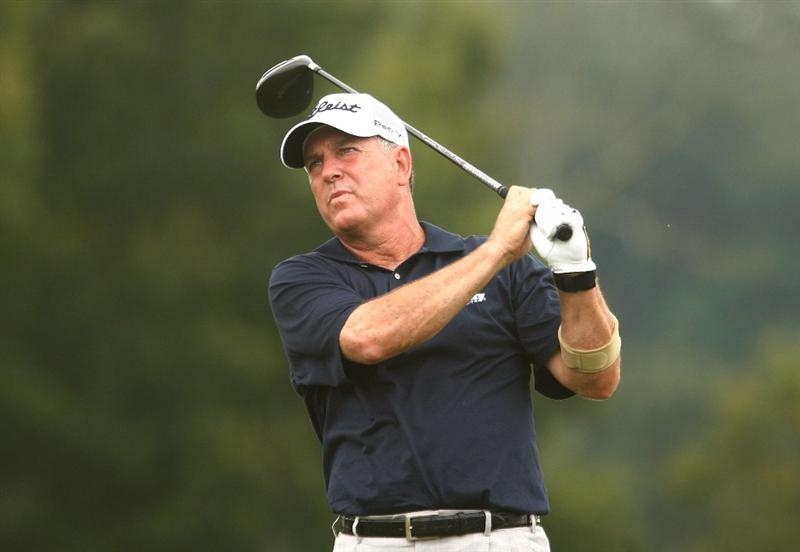 CONOVER, NC - SEPTEMBER 19:  Jay Haas hits his tee shot on the second hole during the second round of the Greater Hickory Classic at the Rock Barn Golf & Spa on September 19, 2009 in Conover, North Carolina.  (Photo by Scott Halleran/Getty Images)