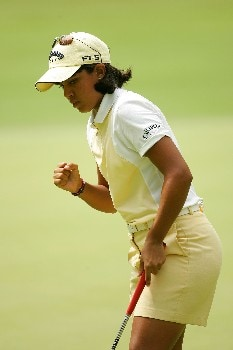 SOUTHERN PINES, NC - JUNE 30:  Julieta Granada of Paraguay reacts to making a birdie at the 8th hole during the completion of round two of the U.S. Women's Open Championship at Pine Needles Lodge & Golf Club on June 30, 2007 in Southern Pines, North Carolina.  (Photo by Streeter Lecka/Getty Images)