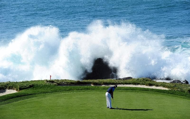 PEBBLE BEACH, CA - FEBRUARY 14:  Luke Donald of England putting on the seventh hole during the final round of the AT&T Pebble Beach National Pro-Am at Pebble Beach Golf Links on February 14, 2010 in Pebble Beach, California.  (Photo by Stuart Franklin/Getty Images)