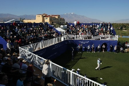PALM DESERT, CA - JANUARY 20:  Boo Weekley hits a tee shot on the first hole during the fifth round of the 49th Bob Hope Chrysler Classic at the Classic Club Course on January 20, 2008 in Palm Desert, California.  (Photo by Harry How/Getty Images)