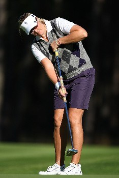 HALMSTAD, SWEDEN - SEPTEMBER 13:  Maria Hjorth of Europe hits a putt during practice prior to the start of the Solheim Cup at Halmstad Golf Club on September 13, 2007 in Halmstad, Sweden.  (Photo by Andy Lyons/Getty Images)