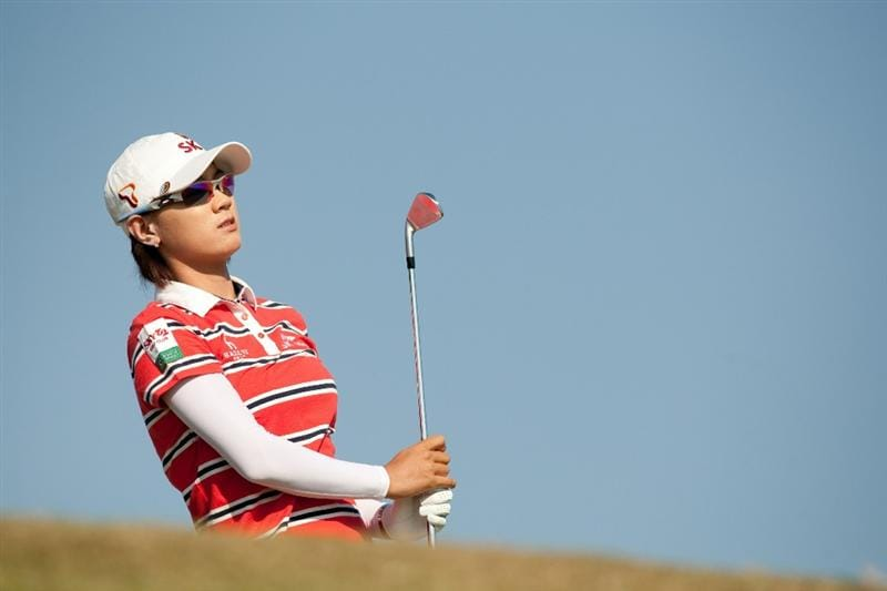 PRATTVILLE, AL - OCTOBER 10: Na Yeon Choi of South Korea follows through on a tee shot during the final round of the Navistar LPGA Classic at the Senator Course at the Robert Trent Jones Golf Trail on October 10, 2010 in Prattville, Alabama. (Photo by Darren Carroll/Getty Images)
