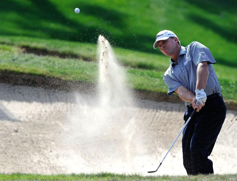 PALM HARBOR, FL - MARCH 22:  Steve Stricker plays a bunker shot on the 13th hole during the final round of the Transitions Championship at the Innisbrook Resort and Golf Club on March 22, 2009 in Palm Harbor, Florida.  (Photo by Sam Greenwood/Getty Images)
