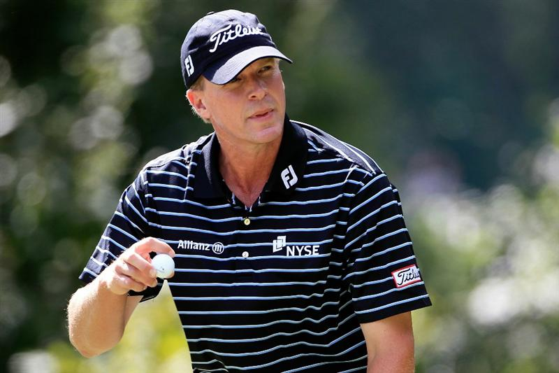 NORTON, MA - SEPTEMBER 05:  Steve Stricker reacts after a par on the fifth hole during the third round of the Deutsche Bank Championship at TPC Boston on September 5, 2010 in Norton, Massachusetts.  (Photo by Michael Cohen/Getty Images)