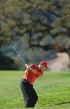 Jerry Pate hits from a fairway bunker on the second fairway during the final round of the 2005 Charles Schwab Cup Championship at Sonoma Golf Club in Sonoma, California October 30, 2005.Photo by Steve Grayson/WireImage.com