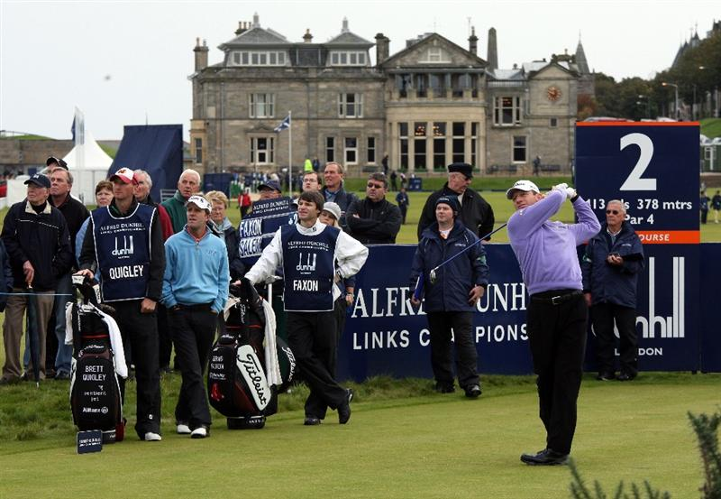 ST.ANDREWS, SCOTLAND - OCTOBER 02:  Brad Faxon of the USA drives off the second tee during the second round of The Alfred Dunhill Links Championship at The Old Course on October 2, 2009 in St. Andrews, Scotland.  (Photo by David Cannon/Getty Images